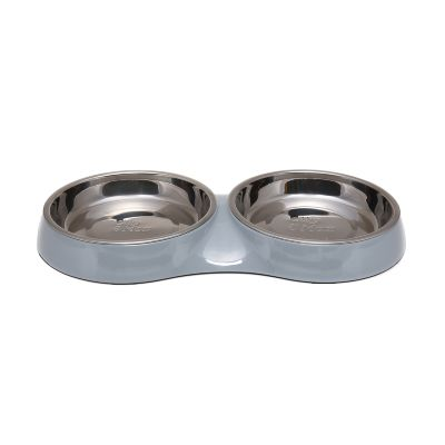Traditional Double Cat Bowl (Grey)